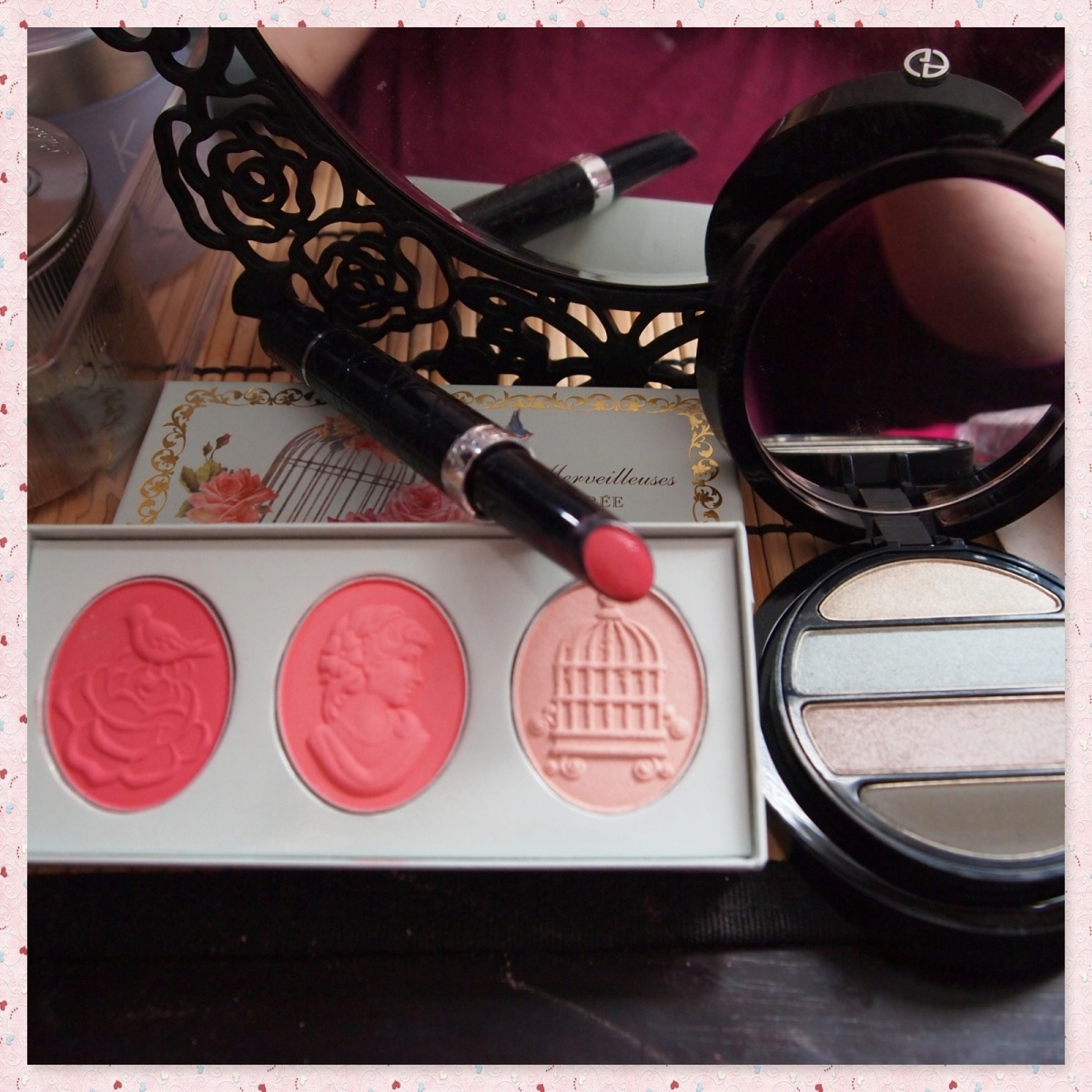 Armani Eyes to Kill Pantelleria, Les Merveilleuses de Laduree Blush Trio FOTD